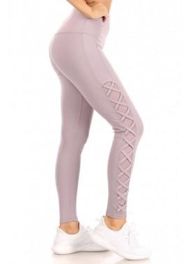 Wholesale Womens High Waist Tummy Control Sports Leggings With Criss Cross Side Mesh Panels