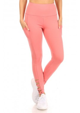 Wholesale Womens High Waist Tummy Control Sports Leggings With Side Pocket & Cross Strap Detail