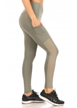 Wholesale Womens High Waist Tummy Control Sports Leggings With Side Mesh Pocket Panels