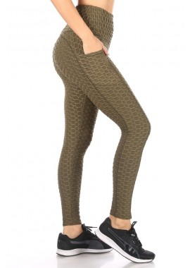 Wholesale Womens High Waist Honeycomb Textured Sports Leggings With Pockets