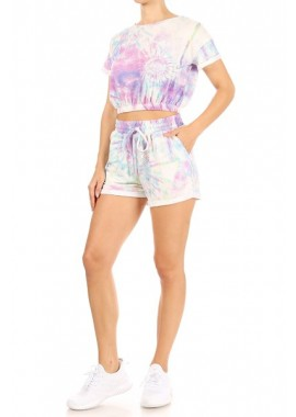 Wholesale Womens 2-Piece Sets Elastic Hem Cropped T-Shirt With Matching Shorts