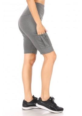 Wholesale Womens High Waist Biker Shorts With Side Cargo Pockets