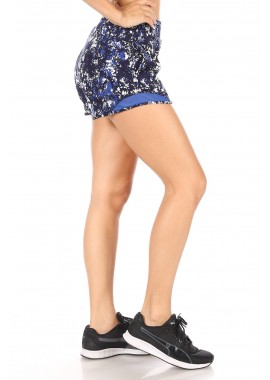 Wholesale Womens High Waist Sports Shorts With Pockets & Mesh Trim