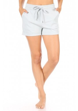 Wholesale Womens Tricot Drawstring Rolled Hem Shorts With Pockets