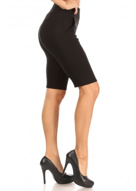 Wholesale Womens High Waist Sculpting Slim Pull On Shorts With Pockets