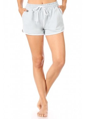 Wholesale Womens Dolphin Hem Tricot Track Shorts With Contrast Binding