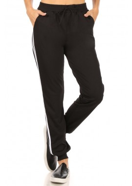 Wholesale Womens Soft Brushed Joggers Sweatpants with Side Stripes