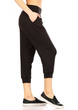 Wholesale Womens 2 Pack Soft Brushed Cropped Harem Loose Fit Joggers