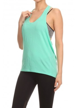 Wholesale Womens Activewear Racerback Tank with Wording