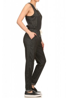 Wholesale Womens Sleeveless Denim Jumpsuit With Button Placket & Fold Back Cuff