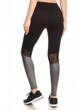Wholesale Womens Activewear Leggings With Contrast Metallic Knit & Back Knee Mesh Panels