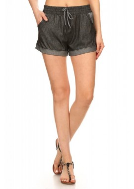 Wholesale Womens Two Tone Stretch Denim Shorts