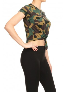 Wholesale Womens Short Sleeve Camo Print Front Tie-Up Crop Tops