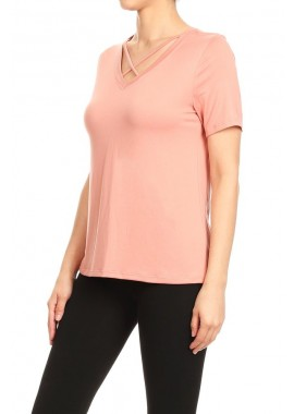 Wholesale Womens Criss Cross V-Neck Short Sleeve Tops