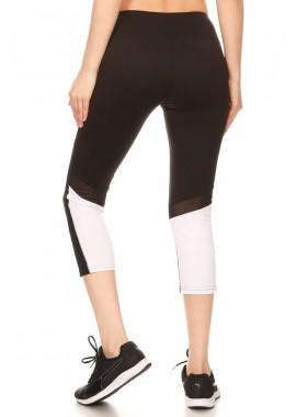Wholesale Womens Color Block Sports Capri Leggings With Mesh Panels