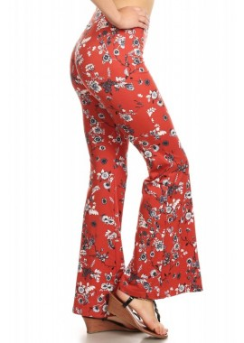 Wholesale Womens Soft Brush Printed Flare Pants