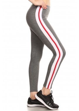 Wholesale Womens Soft Brush Sports Leggings With Contrast Side Panel Stripes
