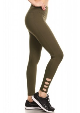 Wholesale Womens Sculpting Ankle Leggings With Cross Strap Detail