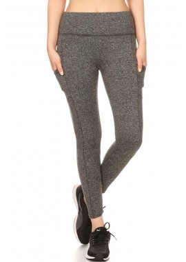 Wholesale Womens Solid Fleece Lined Sports Leggings With Side Pockets