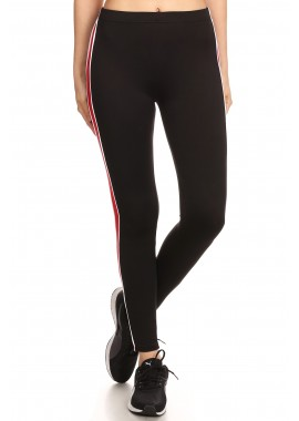 Wholesale Womens Soft Brush Sports Leggings With Contrast Side Stripes Panels