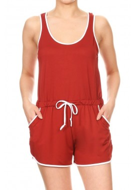 Wholesale Womens Soft Brush Dolphin Hem Rompers With Contrast Binding