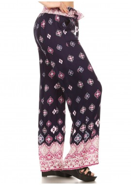 Wholesale Womens Straight Leg Palazzo Pants With Sash(S-XL)