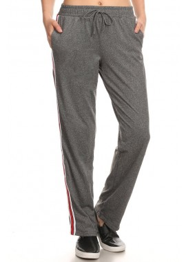Wholesale Womens Sports Straight Track Pants With Side Striped Twill Tape
