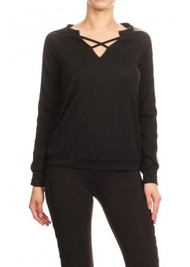 Wholesale Womens Long Sleeve Criss Cross V-Neck Tops With Side Stripes