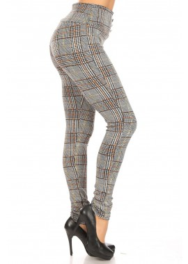Wholesale Womens High Waist Treggings Skinny Pants With Front Metal Buttons