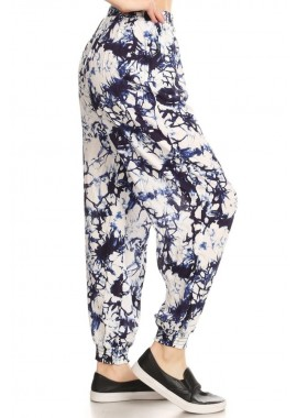 Wholesale Womens Tie Dye Printed Harem Jogger Pants