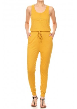 Wholesale Womens Fitted Button Down Rib Jogger Jumpsuit