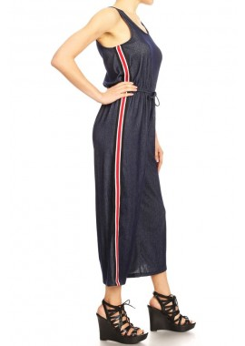 Wholesale Womens Tank Top Cropped Wide Leg Jumpsuits With Side Stripe Tape