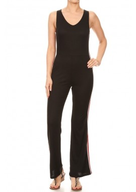 Wholesale Womens Double V Neck Flare Pant Rib Jumpsuits With Side Stripe Tape