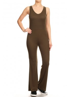 Wholesale Womens Double V Neck Flare Pant Rib Jumpsuits