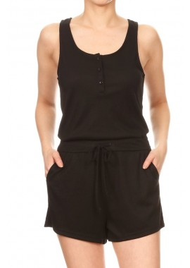 Wholesale Womens Fitted Button Down Rib Rompers