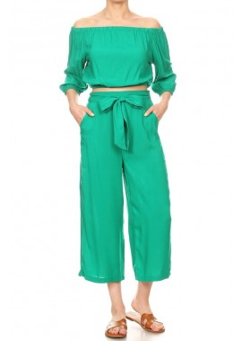 Wholesale Womens 2-Piece Set Off-The-Shoulder Crop Tops With Cropped Wide Leg Pants