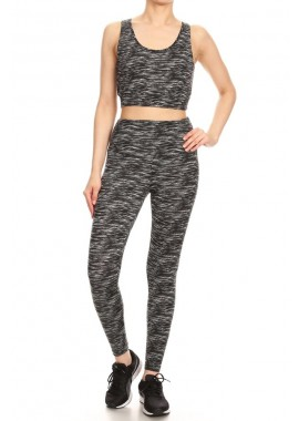 Wholesale Womens 2-Piece Sports Set Criss Cross Tank Tops + High Rise Leggings