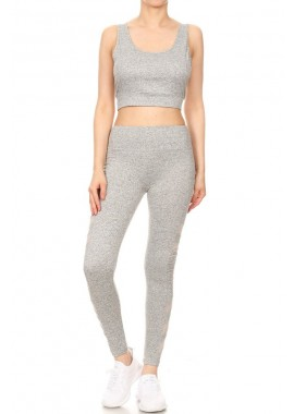 Wholesale Womens 2-Piece Sports Set Crop Tank Tops + High Rise Leggings With Side Pockets & Mesh Panels