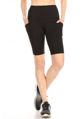 Wholesale Womens High Waist Biker Shorts With Side Pockets