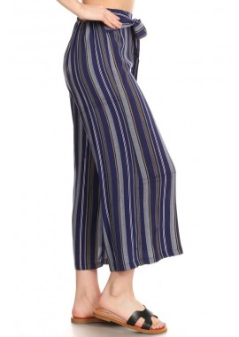 Wholesale Womens Cropped Wide Leg Pants With Sash