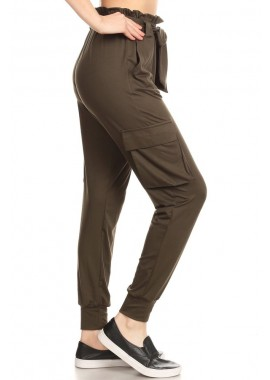 Wholesale Womens Paper Bag Waist Cargo Joggers Pants