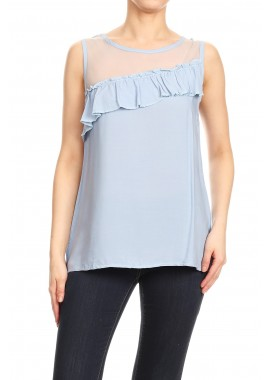 Wholesale Womens Sheer Mesh Neck Tops With Ruffle Trim