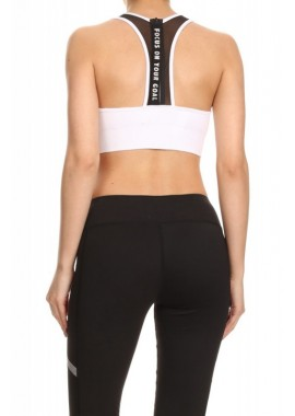 Wholesale Womens Activewear Sports Bras With Mesh Zipper Back & Wording Puller Tab