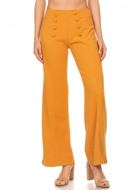 Wholesale Womens High Waist Wide Leg Pants With Front Button Detail