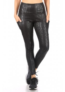 Wholesale Womens Shiny Embossed Print High Waist Tummy Control Sports Leggings With Pockets