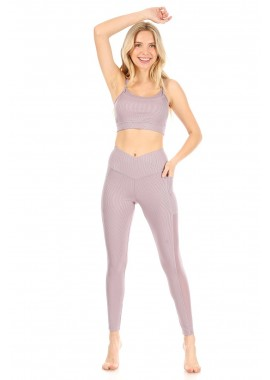 Wholesale Womens 2-Piece Sports Sets Rib Knit Bra Tops With Mesh Trim & Overlap Waist Leggings With Mesh Panels & Pockets