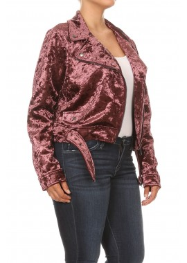 Wholesale Womens Plus Size Velvet Belted Biker Jackets
