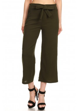 Wholesale Womens Solid Cropped Wide Leg Palazzo Pants With Waist Tie