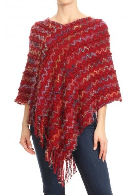 Wholesale Womens Fuzzy Pullover Poncho Sweaters With Asymmetric Hem & Fringe Detail