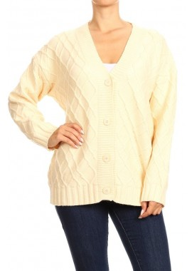Wholesale Womens Textured Knit Chunky Cardigan Sweaters
